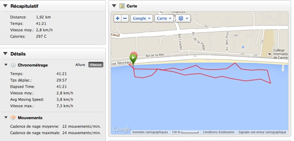 Test GARMIN Fenix 2 – Séance de natation en mer
