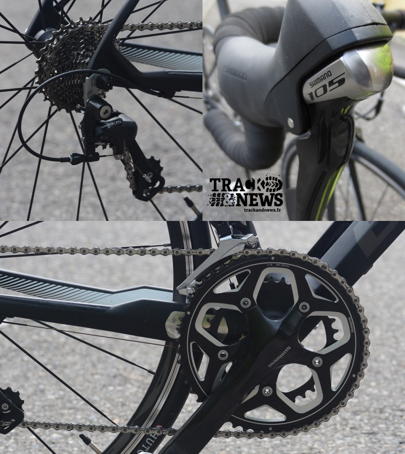 Test B'Twin Mach 720 - Transmission Shimano 105 - crédit photo © Track & News