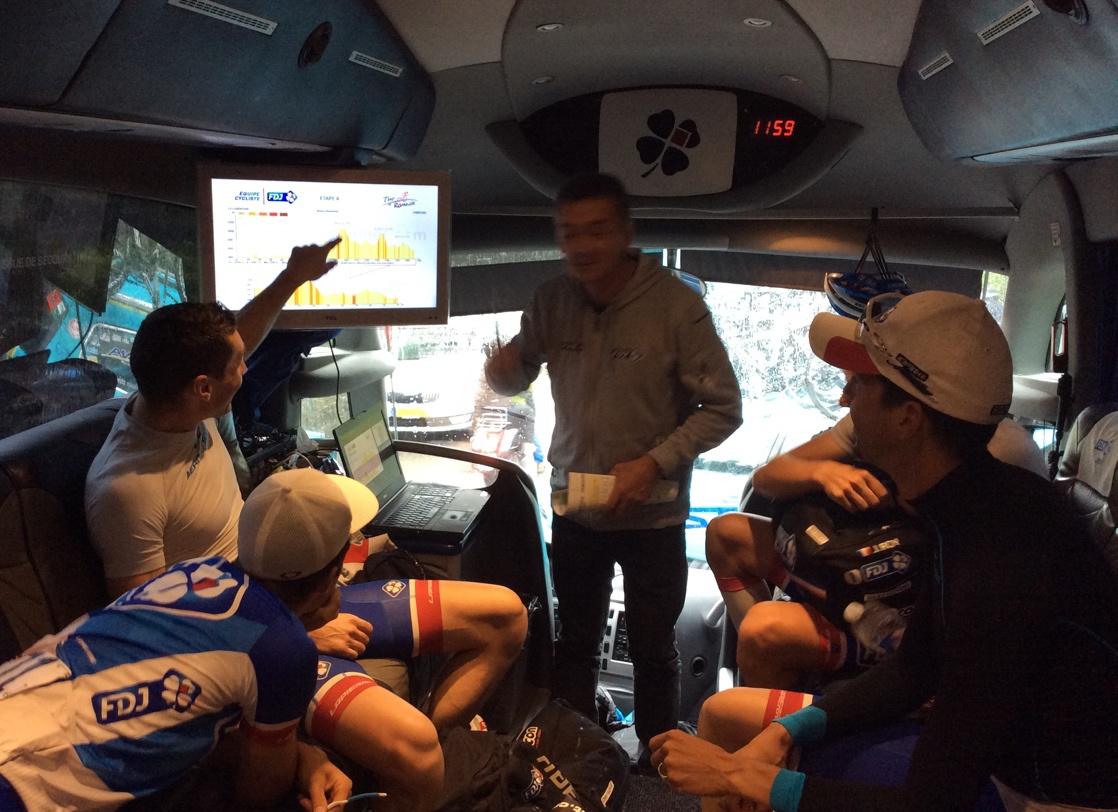 Briefing d'avant course orchestré par Yvon Madiot - équipe cycliste Pro FDJ - Tour de Romandie 2015 - © Julien Pinot