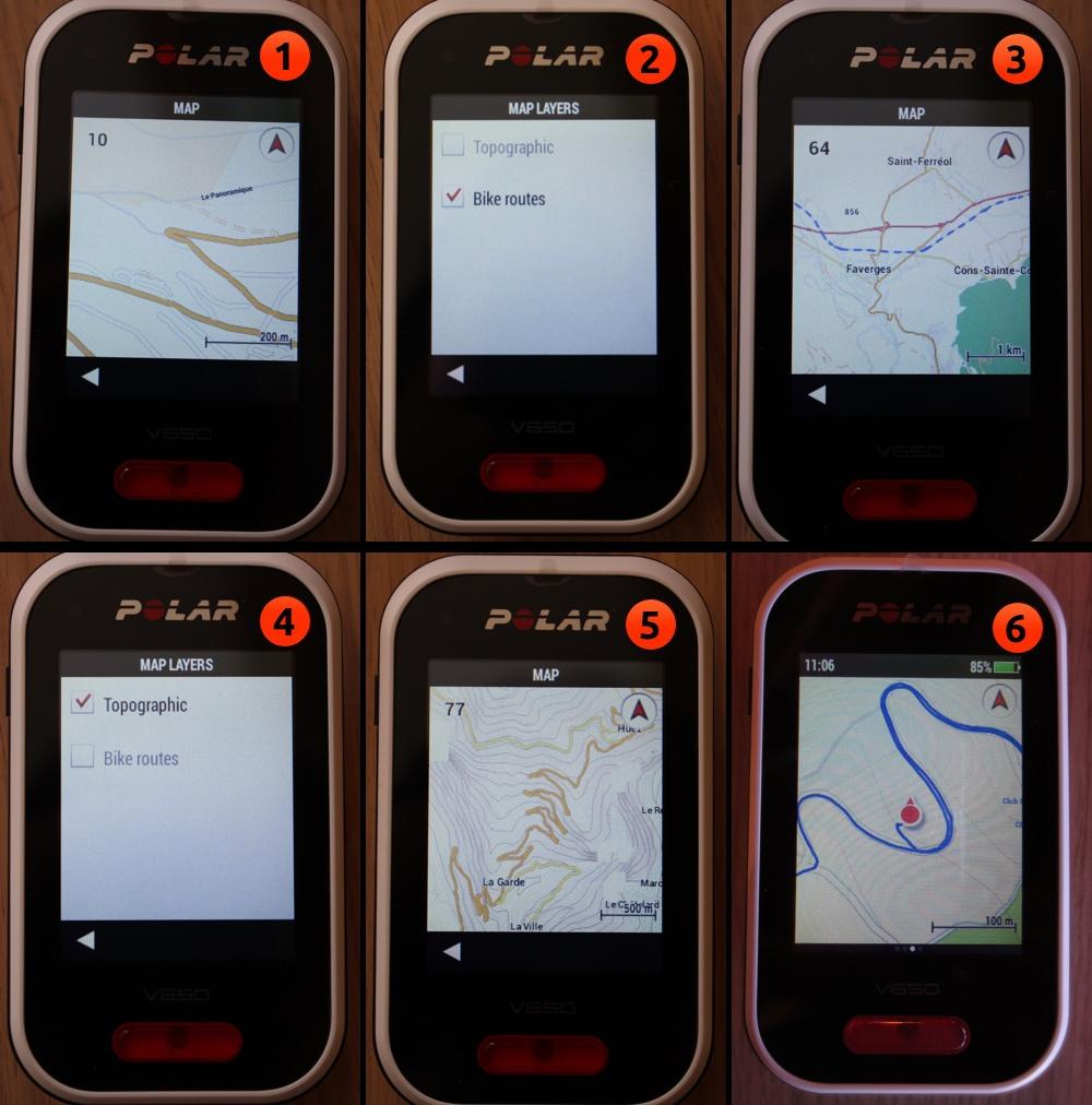 Polar V650  - Cartographie OSM : 1, Fond de carte route; 2, Sélection de la couche cyclisme; 3, Affichage des pistes cyclables; 4, Sélection de la couche topo; 5, Affichage des courbes de niveaux; 6, Affichage de la position et du parcours réalisé - crédit ©Track & News