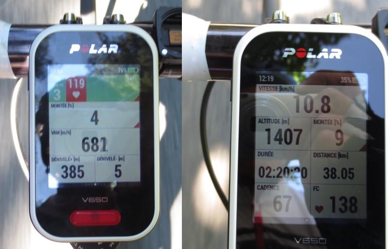 Polar V650 - Données altimétriques : Gauche : Pente (% ou degré) - VAM (Vitesse Ascensionnelle Moyenne) - Dénivelés positif et négatif - Droite : Altitude instantanée et pente - crédit @ Track & News