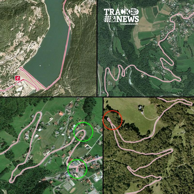 Polar V650 - Qualité de la trace GPS (haut gauche : passage sur un pont; haut droite, lacets; bas gauche, pauses; bas droite, une erreur du GPS dans une épingle) - crédit @ Track & News