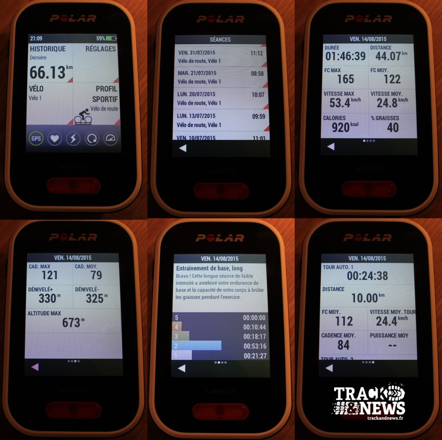 Polar V650 - Résumé d'une séance - crédit @ Track & News