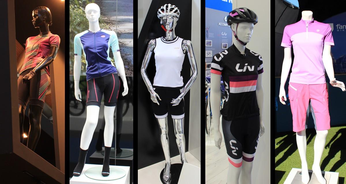 Variétés de coupes et coloris, de gauche à droite : Pearl Izumi, Sugoï, RH+, Liv, Fanfiluca - crédit photo ©T&N