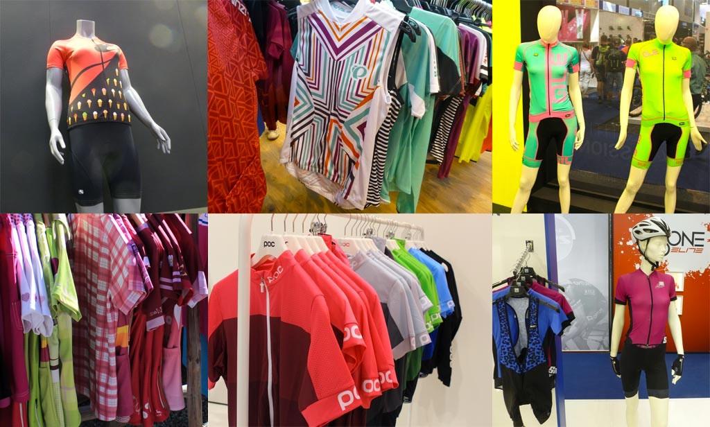 Il reste un peu de rose mais la couleur explose sur les maillots féminins, de gauche à droite et de haut en bas : Giordana, Pearl Izumi, Ale Bike Wear, Wild Zeit Sportwear, Poc, Ozone Cycling - crédit photo ©T&N