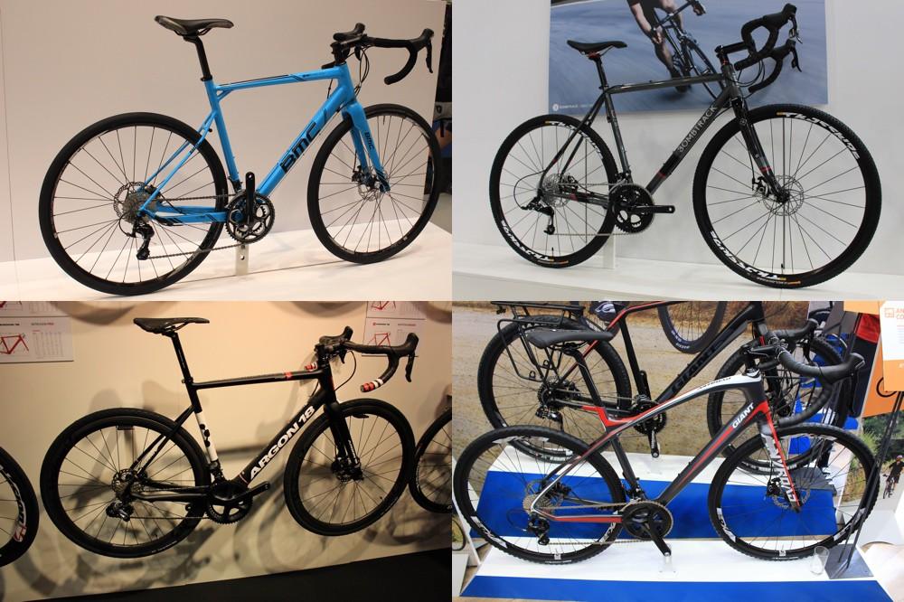 Eurobike 2015 - Gravel : BMC Granfondo GF02 Disc (cadre alu) - Bombtrack Hook 1 (cadre acier) - Argon  18 Krypton XRoad (cadre carbone) - Giant AnyRoad (cadre alu) -  © Track & News