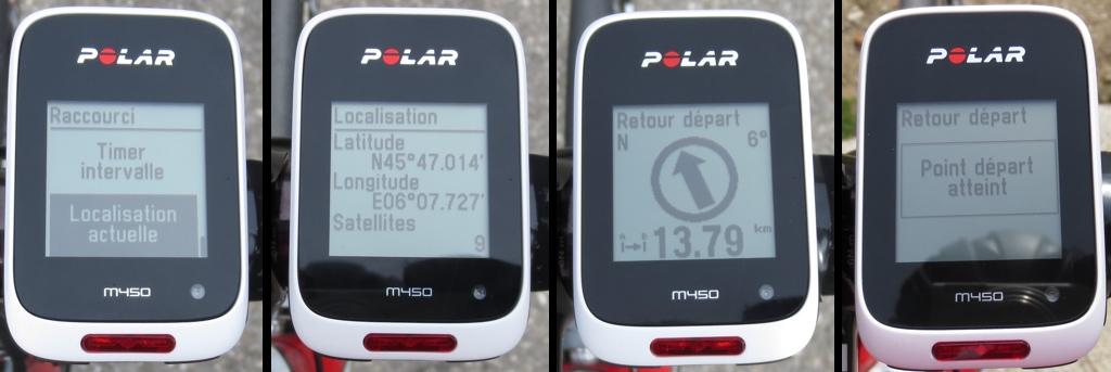 Test du compteur GPS vélo Polar M 450 - Localisation et cap jusqu'au point de départ - © Track & News