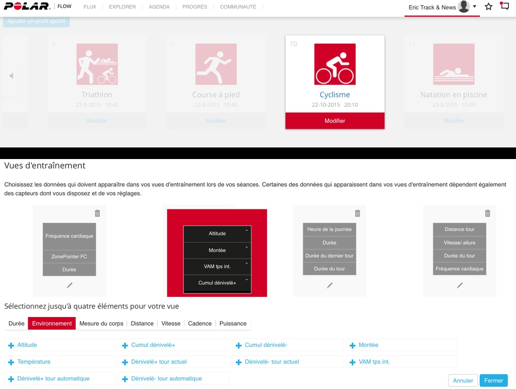 Test du compteur GPS vélo Polar M 450 - Configuration des profils sportifs sur Web Polar Flow - © Track & News