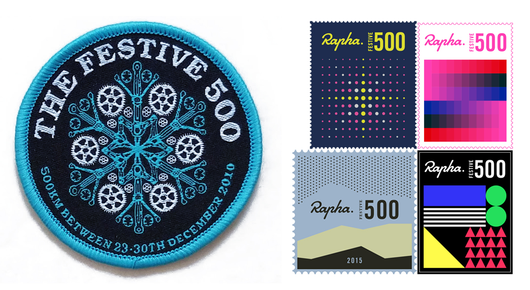 Festive Rapha 500 badges
