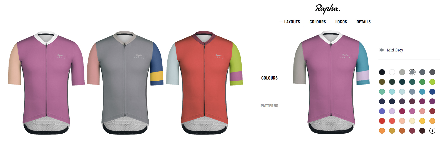 Rapha Custom cycling apparel Pro Team mid jersey colours