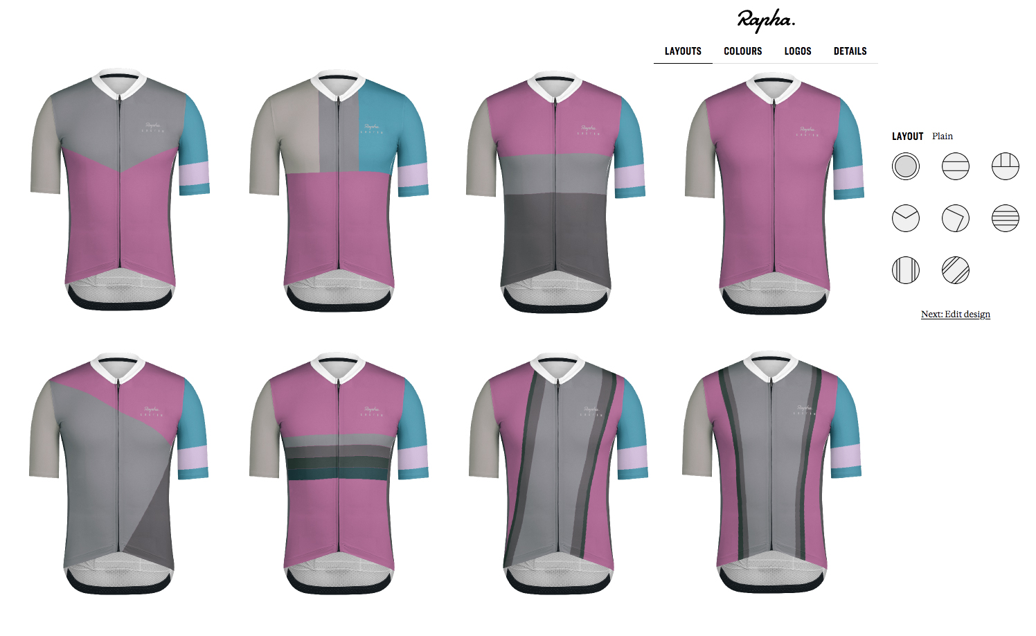 Rapha Custom Cycling apparel Pro Team jersey layouts