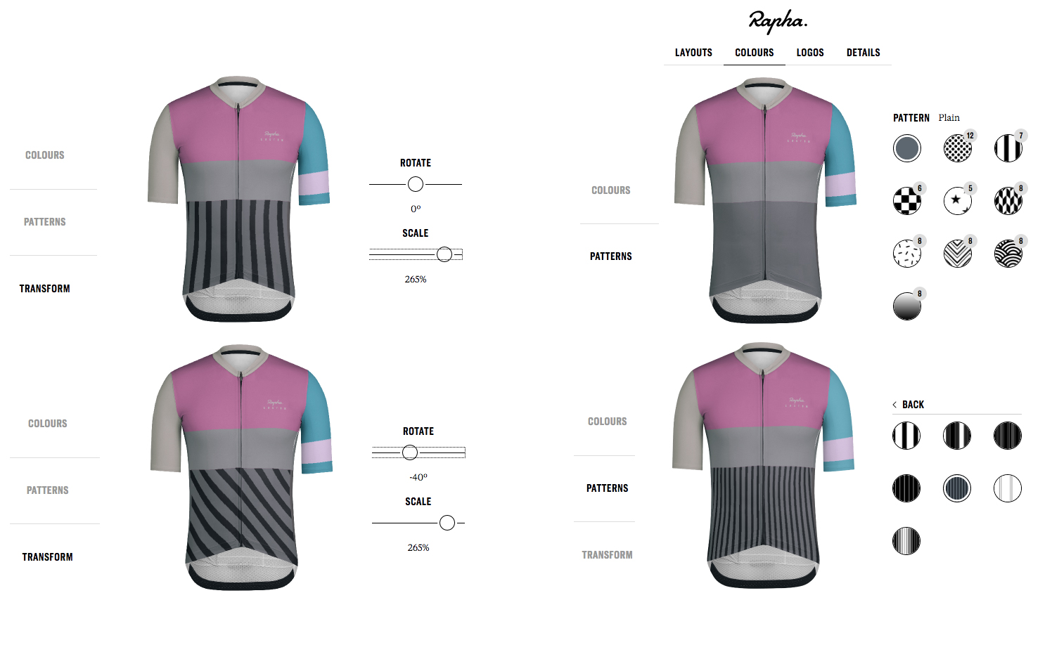 Rapha Custom Pro team mid jersey patterns