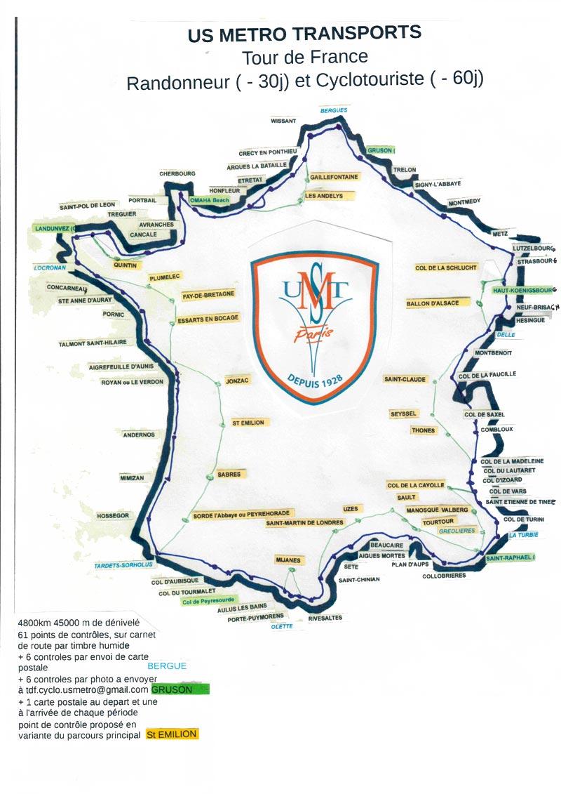 Carte du Tour de France randonneur