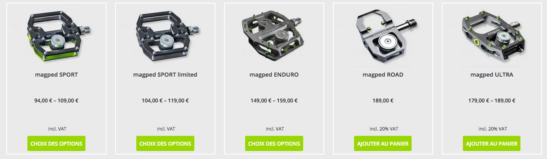 La gamme des pédales Magped - capture d'écran site Magped
