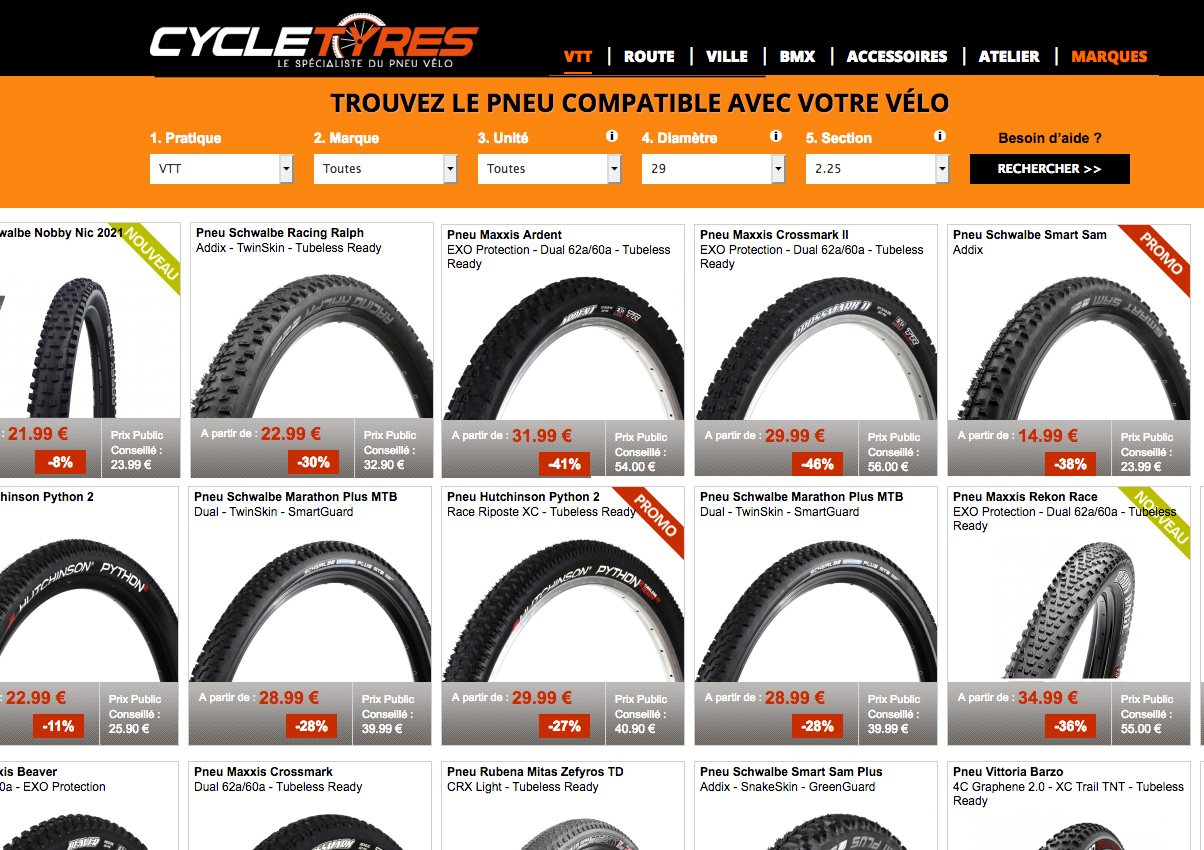 C'est parmi les pneus XC en 29 pouces les plus légers et les plus roulants qu'il va falloir faire notre choix - captures d'écran site www.cycletyres.fr