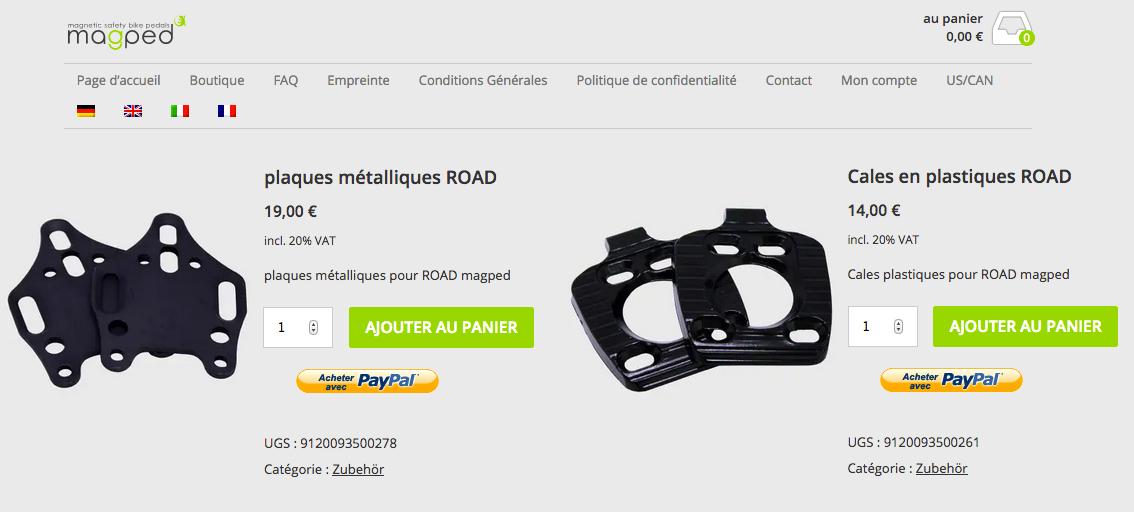 Les pièces de rechange et leurs tarfifs, tels qu'on les trouve sur le site du fabricant - captures d'écran site Magped