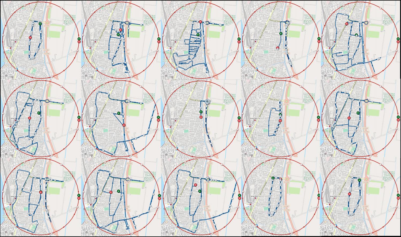 C'est incroyable le nombre de variantes qu'on peut rouler dans le cercle d'1km - captures d'écran Openrunner