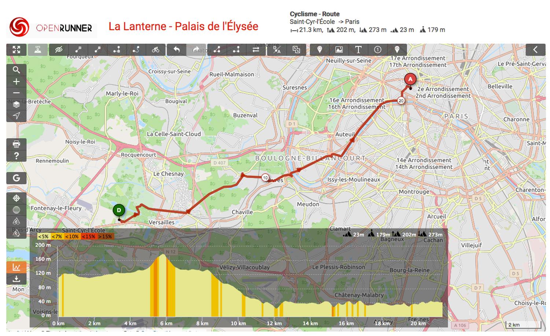Du Pavillon de la Lanterne au Palais de l'Élysée, Emmanuel Macron peut profiter d'un parcours de vélotaf bien sympa - capture d'écran Openrunner