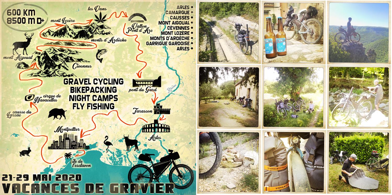 Gravel trip holydays adventure map mountains cévennes Aigoual Arles Sète Montpellier Les Vans