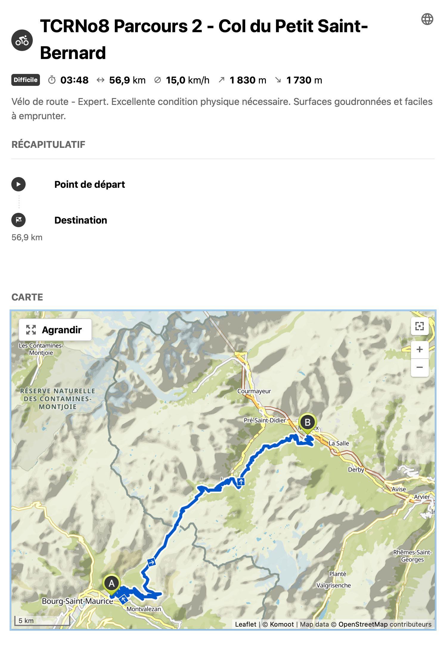Transcontinental 8 : le Col du Petit Saint-Bernard est le 2e passage obligatoire