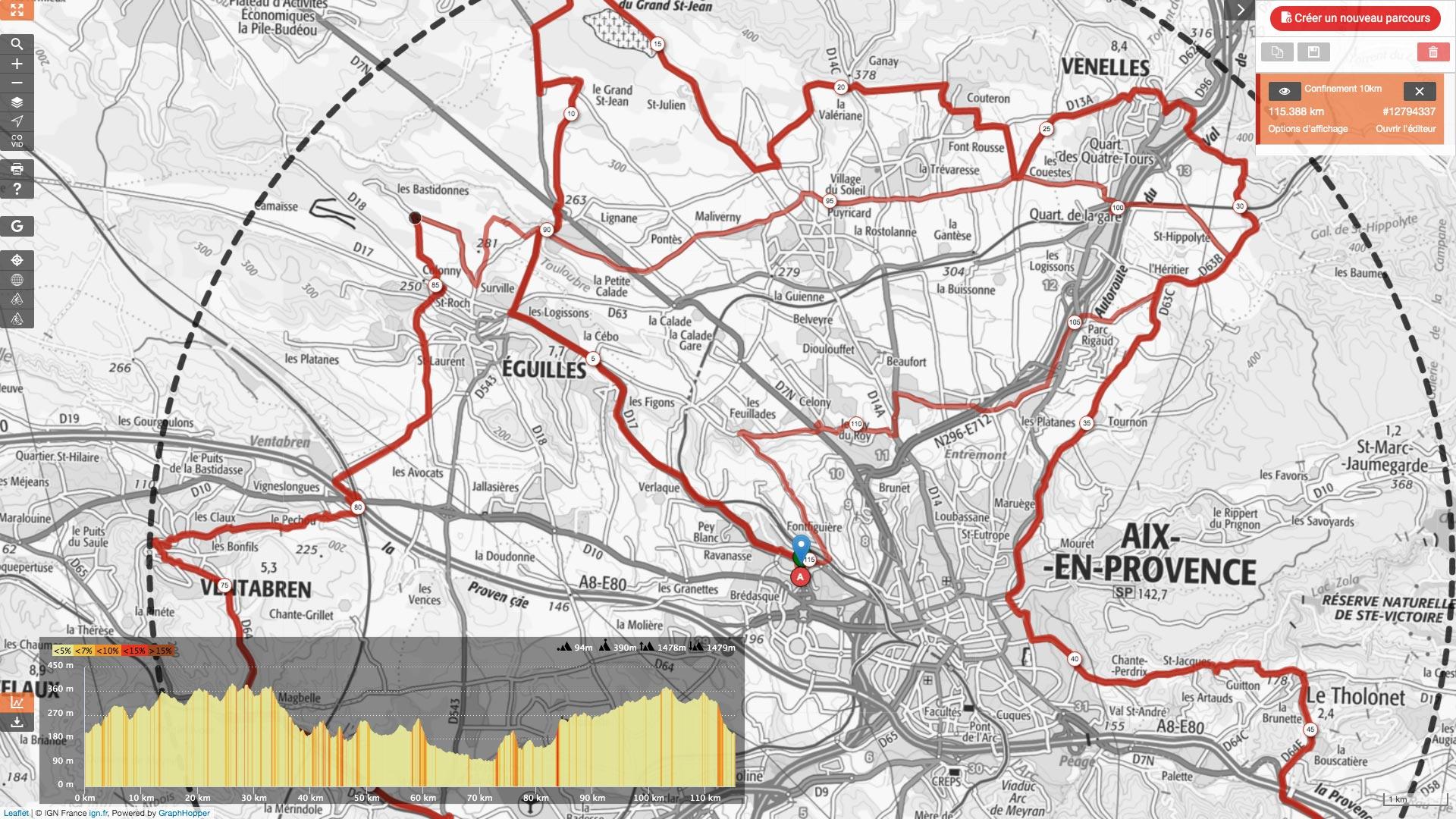 Rouler confiné dans un cercle de 10km avec Openrunner