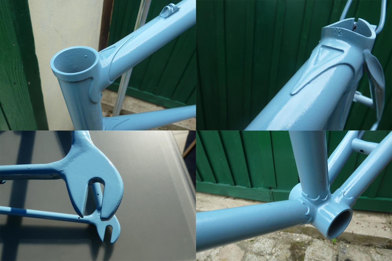 L'atelier peinture de Bike Café. Je repeins mon cadre à la bombe