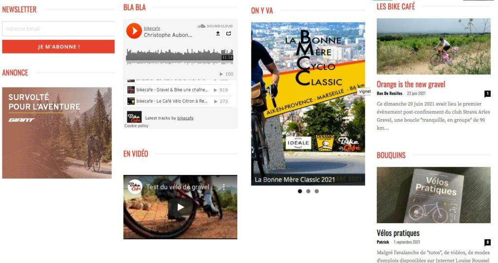 La colonne de droite de Bike Café propose des liens direct vers certaines infos