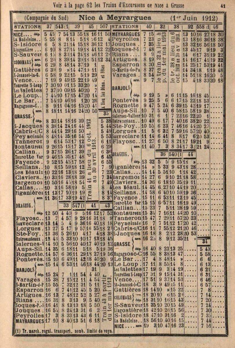 Horaires du Train des pignes en 1912